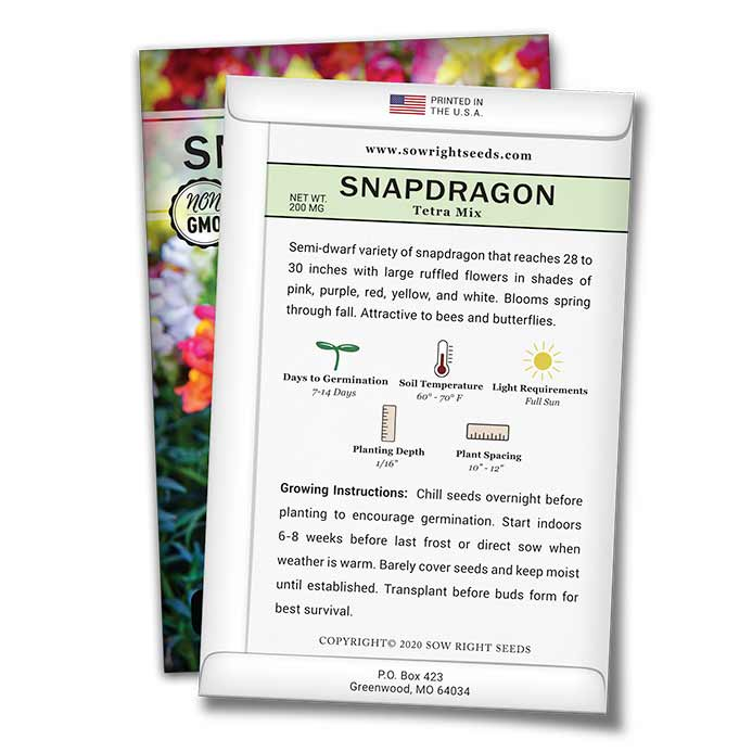 Snapdragon Tetra Mix Seed Packet Back